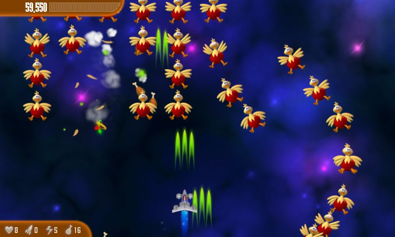 Pantalla del juego Chicken Invaders
