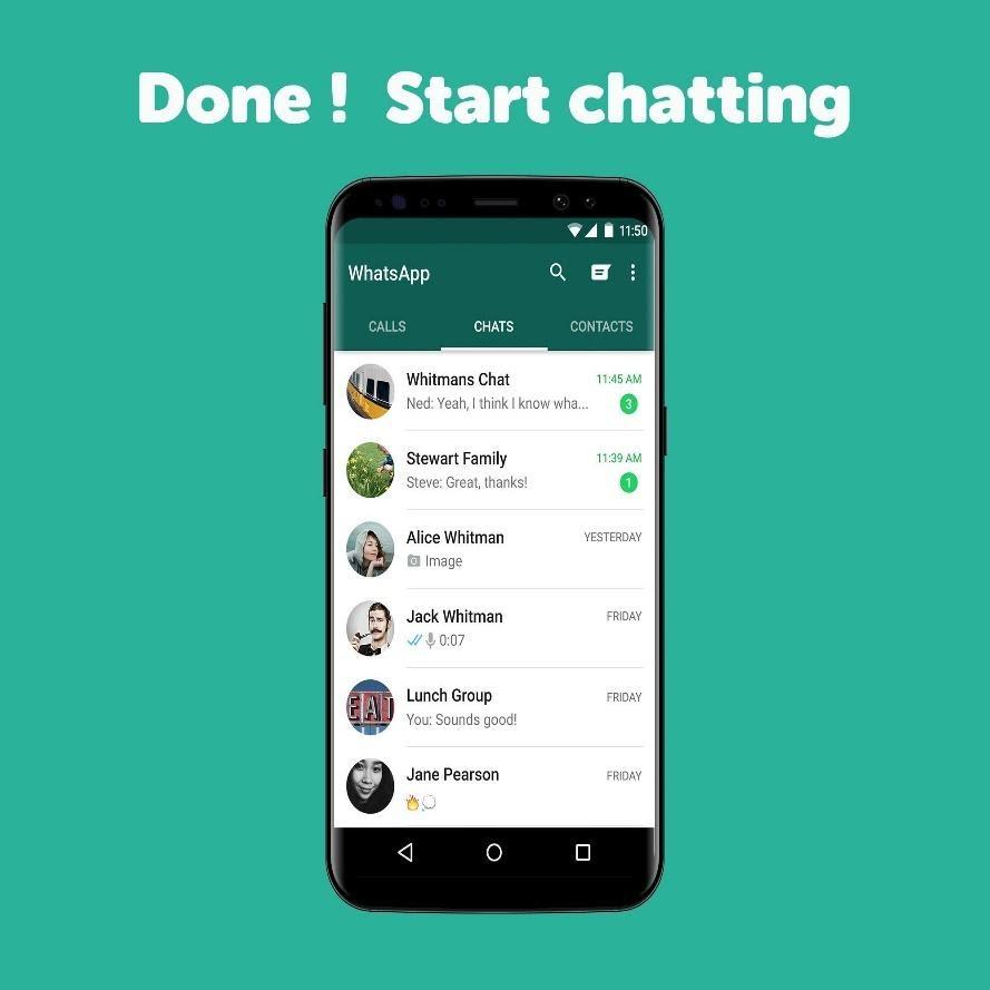 Imagen del historial de chats de WhatsApp